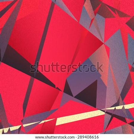 Retro geometric background with red colorful shapes on textured paper - stock vector