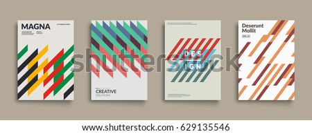 Retro geometric covers set. Cool minimal design. Eps10 vector.