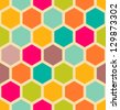 Retro geometric hexagon seamless pattern - stock vector