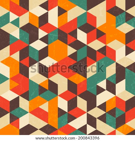 Retro geometric pattern with grunge texture. Seamless abstract background. EPS 10 vector illustration. - stock vector