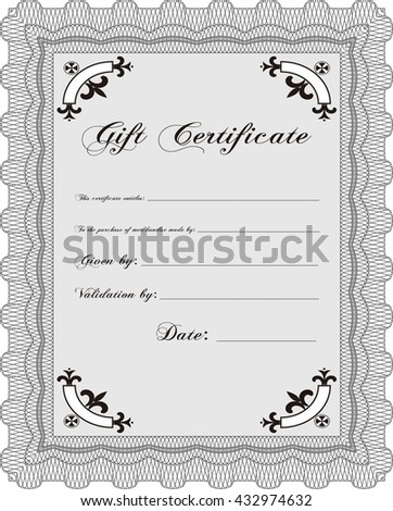 Retro Gift Certificate. Good design. Customizable, Easy to edit and change colors. With complex background.  - stock vector