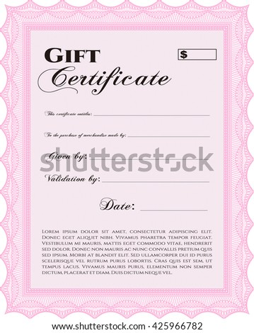 Retro Gift Certificate Template Beauty Design Stock Vector - Beauty gift certificate template