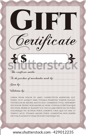 Retro gift certificate template beauty design stock vector retro gift certificate template beauty design with linear background border frame yadclub Image collections