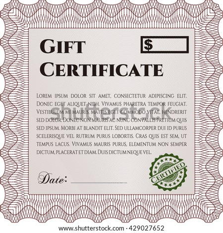 Modern gift certificate template stock vector 414753796 shutterstock retro gift certificate template vector illustration with complex linear background artistry design yadclub Gallery