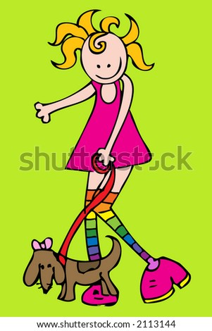 retro girl with dog - stock vector