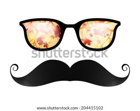 Retro glasses with reflection, autumn is coming. And also includes EPS 10 vector - stock vector
