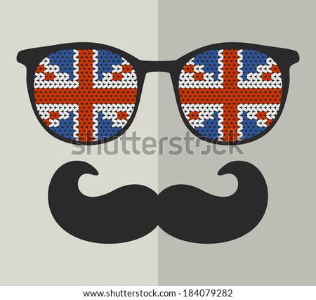 Retro glasses with reflection for hipster. Vector illustration. - stock vector