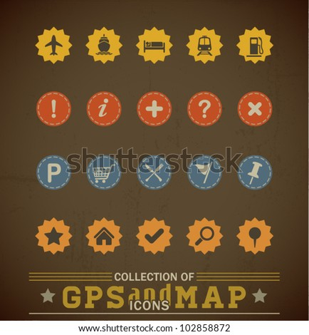 Retro GPS and MAP Icon Set. Vector Illustration. - stock vector