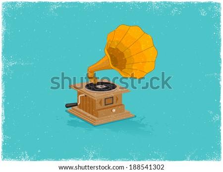 Retro gramaphone in vintage vector style - stock vector