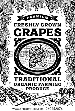 Retro grapes poster black and white. Fully editable vector illustration with clipping mask.