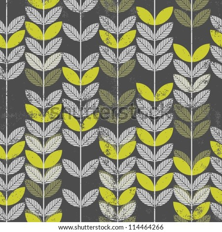 retro green leaves on branches on dark background seamless pattern - stock vector