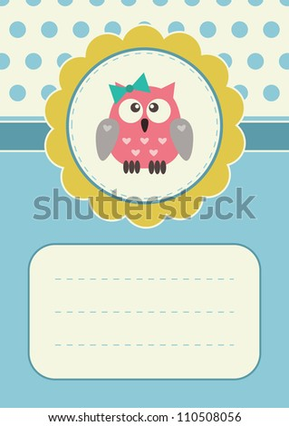 Retro greeting card with cute baby-girl owlet. Some blank space for your text included.