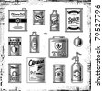 Retro grocery set black and white. Vector - stock photo