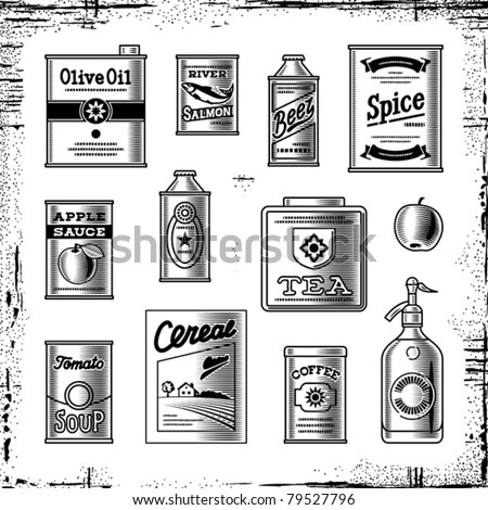 Retro grocery set black and white. Vector - stock vector