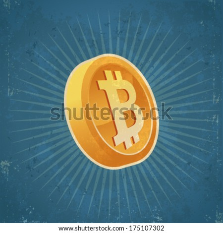 Retro grunge illustration of gold bitcoin currency coin