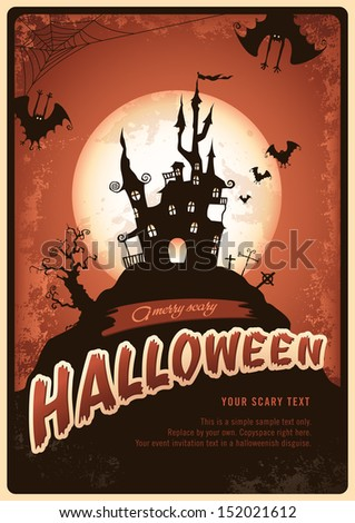 retro halloween poster or invitation with haunted castle and bats - stock vector