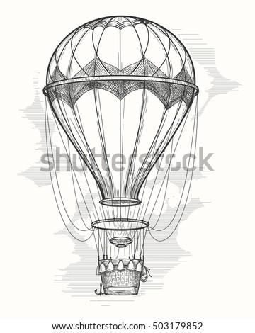 retro hand drawing hot air balloon vintage hot air airship vector sketch
