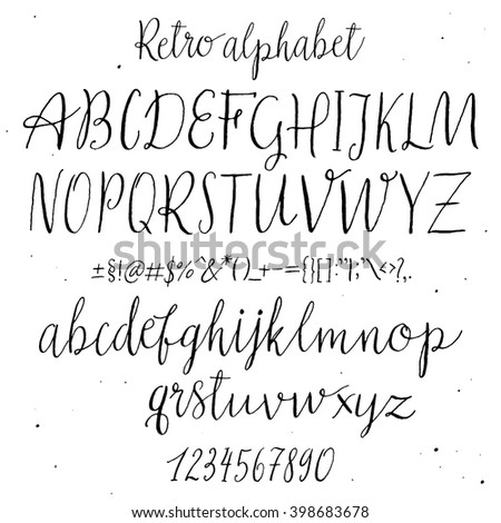 Retro Hand Drawn Alphabet Script Painted Letters Handwritten Cursive Typeface Lettering And Custom