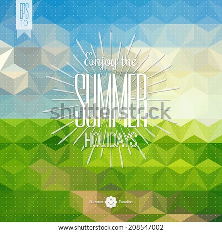 Retro hand drawn elements for Summer calligraphic design. Summer background. Summer creative design template. Calligraphic design element. Vector illustration. Summer holidays. Summer poster. EPS 10.