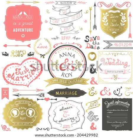 Retro hand drawn elements for wedding invitations, greetings, guest information in delicate colors. Vector illustration. - stock vector
