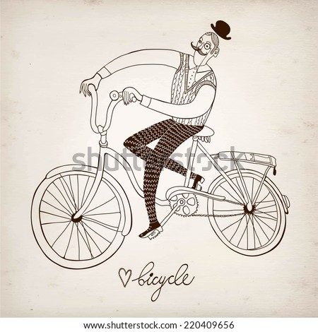 Retro hand drawn man on a bicycle on paper background. - stock vector