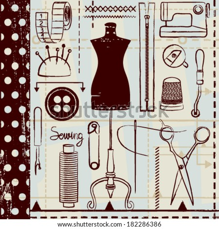 Retro hand drawn sewing related seamless pattern background - stock vector