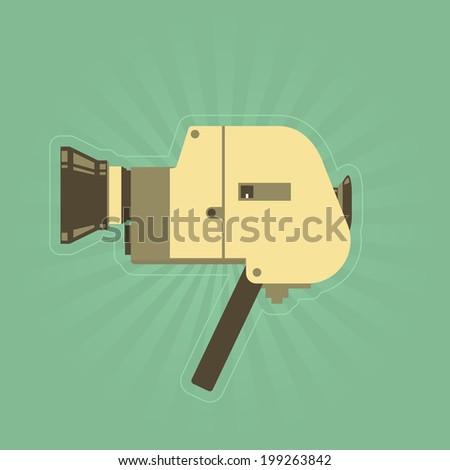 Retro hand film camera in simple style  - stock vector