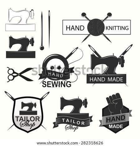 Retro Handmade, hand sewing and tailor shop logotypes set. Design elements.Vintage badges and labels set. - stock vector