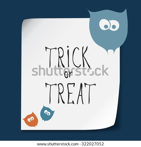 Retro Happy Halloween Badge, Sticker, Label. Design Element for Greetings Card or Party. Vector Illustration. Stylizes cartoon color funny owls. Trick or Treat Concept - stock vector