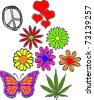 Retro Happy Hippie Set of Flower Power Groovy Icons Vector Illustration - stock vector