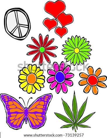 Retro Happy Hippie Set of Flower Power Groovy Icons Vector Illustration - stock vector