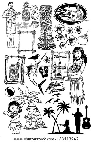 Retro Hawaii Icons - stock vector