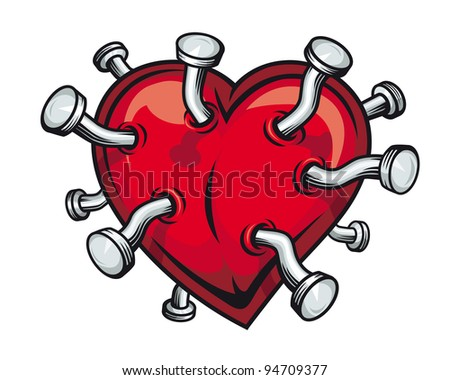 Retro heart with bent nails for t-shirt or mascot design. Jpeg version also available in gallery - stock vector