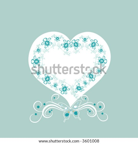 retro heart with flower and butterfly - stock vector