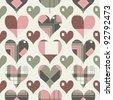 Retro hearts seamless pattern - stock photo
