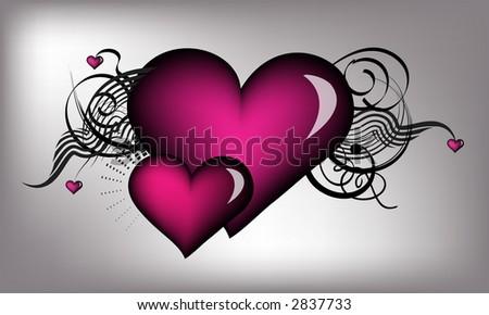 retro hearts with vector - stock vector