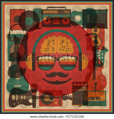 retro hipster funky poster, abstract style - stock vector