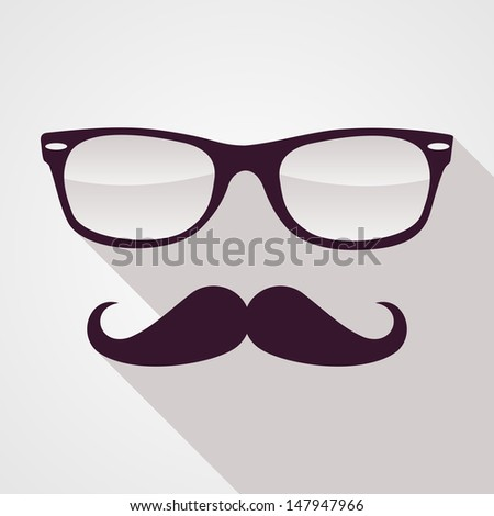 Retro hipster mustache and glasses symbol. Vector file layered for easy manipulation and custom coloring. - stock vector
