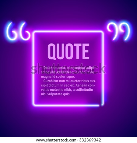 Retro hipster neon glowing quote marks frame - stock vector