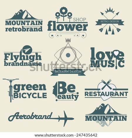 Retro hipster Vintage Labels Logo design vector typography inspiration template set. Old style elements, business signs, logos, label, badges and symbols. - stock vector