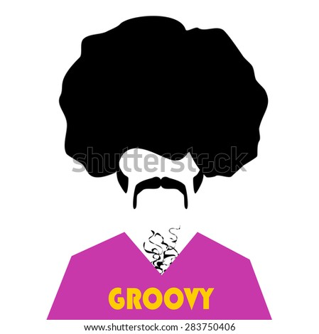 retro hipster with afro and groovy shirt - stock vector