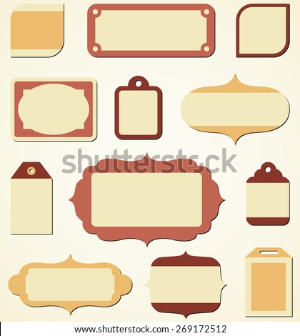 Retro Holiday Labels and Tags - Set of vector retro holiday labels and tags.  Colors are global, so they can be modified easily.  Each label is grouped separately for easy editing.   - stock vector