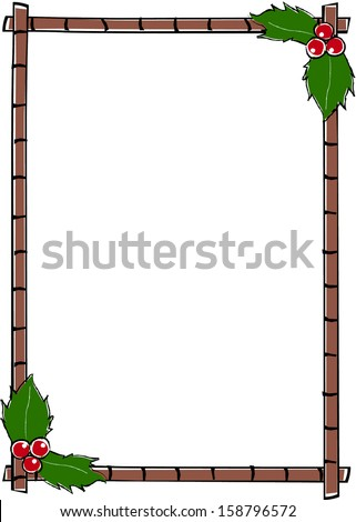 Retro Holiday Vertical Bamboo Frame with Corner Holly Berries & Leaves Vector Illustration - stock vector