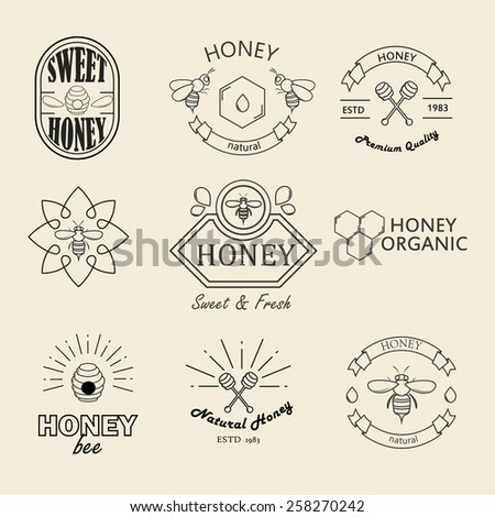Retro honey logotypes set. Vector design elements.Vintage badges and labels set. - stock vector