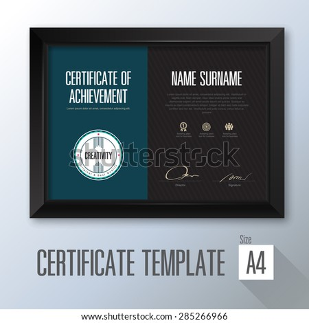retro horizontal certificate with black frame, certificate template
