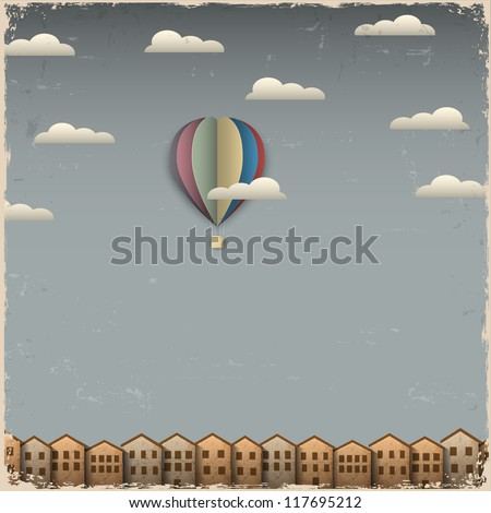 Retro hot air balloon and town from paper. Creative vector eps 10 - stock vector