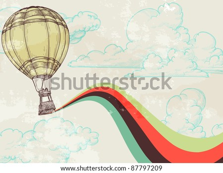 Retro hot air balloon sky background old paper texture. Vintage texture grouped and easy removable - stock vector