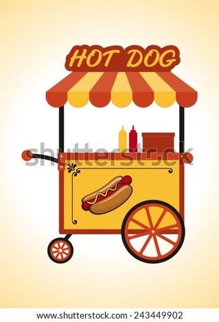 Retro hot dog cart. - stock vector