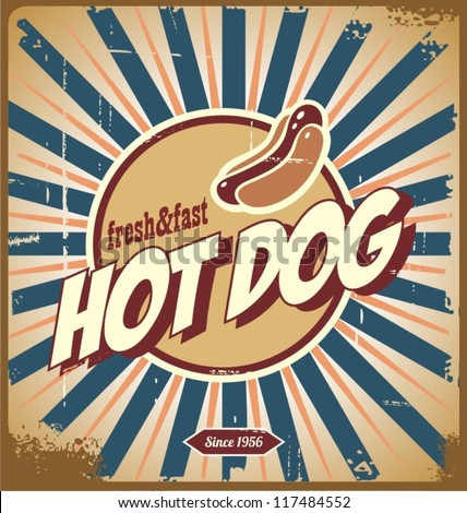 Retro hot dog sign, or vintage poster - stock vector