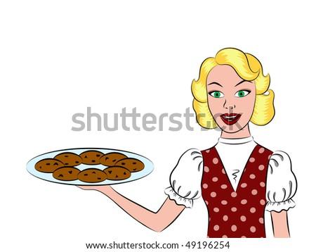 Retro housewife.Isolation - stock vector